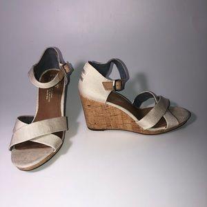 Toms Ivory Sienna Wedge Sandals 7.5M